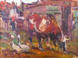 Adriaan BOSHOFF - Cow and Ducks - Oil on board 13 x 22cm