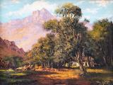 002_Tinus de Jongh - Landscape with Cottages and Mountains - Oil on canvas 24 x 30cm SOLD for R19 000