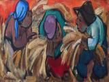004c_Hennie NIEMANN Snr - Harvesting - Oil on board 30 x 75cm SOLD for R18 000
