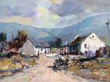 004d_Christiaan NICE - Village Scene with Donkey Cart - Oil on board 42 x 60cm SOLD for R40 000