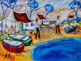 Portchie - Fishing Village - Oil on canvas 70x100cm SOLD at R50 000