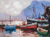 Wessel MARAIS - Boats in Harbour - Oil on canvas 51x77cm SOLD for R19 000