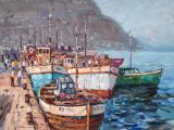 Wessel MARAIS - Hout Bay Harbour - Oil on board 60 x 90cm SOLD at R11 000